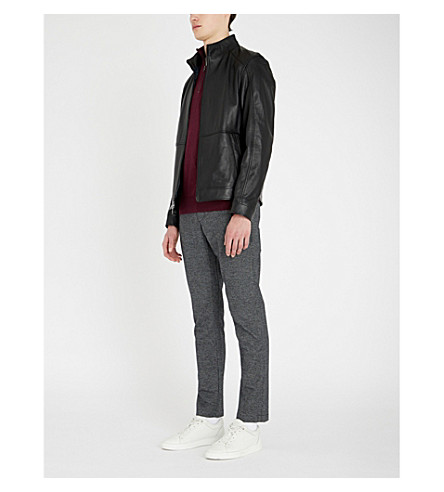 MICHAEL KORS Funnel-neck leather jacket (Black