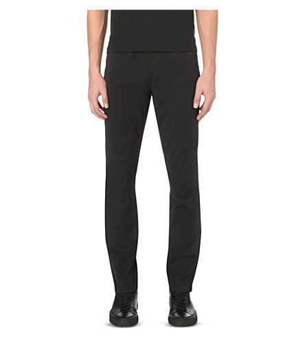 MICHAEL KORS Slim-fit tapered stretch-cotton chinos (Black