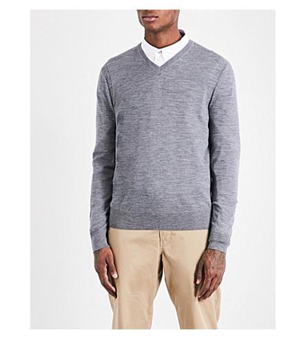 MICHAEL KORS V-neck merino-wool jumper (Ash+melange