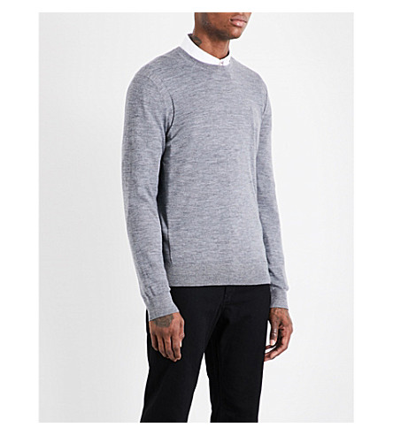 MICHAEL KORS Crewneck merino-wool sweater (Ash+melange