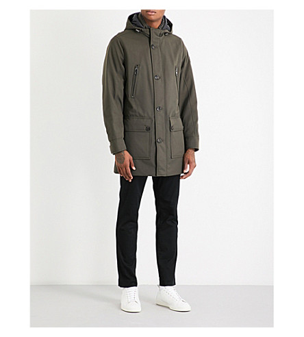 MICHAEL KORS Shearling-trim hooded shell parka coat (Fatigue
