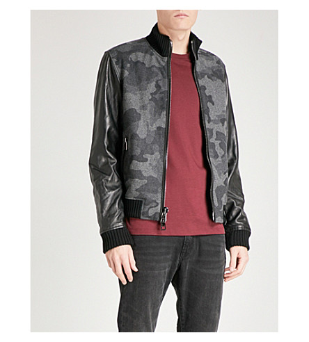 MICHAEL KORS Camouflage wool-blend and leather bomber jacket (Black
