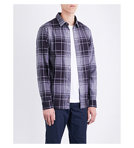 MICHAEL KORS Wess checked classic-fit cotton shirt (Midnight