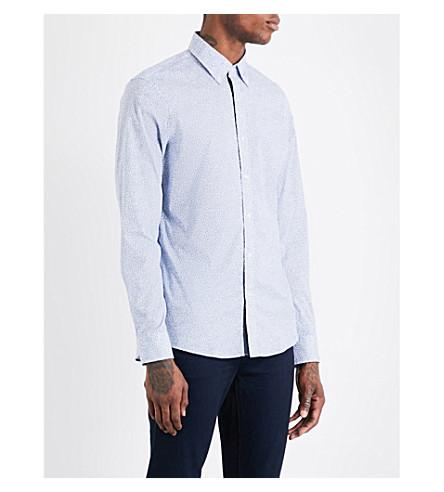 MICHAEL KORS Shadow dot-print slim-fit cotton shirt (Blue