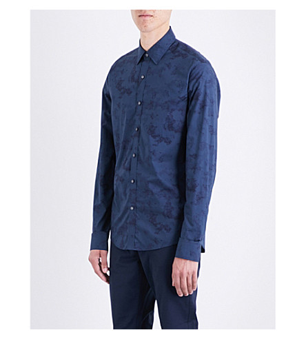 MICHAEL KORS Water-print slim-fit cotton shirt (Midnight