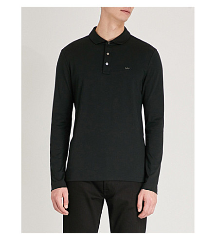MICHAEL KORS Logo-embroidered cotton-jersey polo shirt (Black