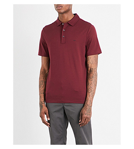 MICHAEL KORS Logo-embroidered cotton-jersey polo shirt (Chianti