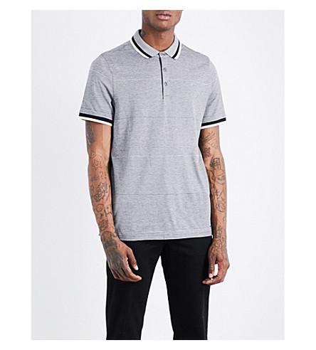 MICHAEL KORS Birdseye stripe cotton-piqué polo shirt (Midnight