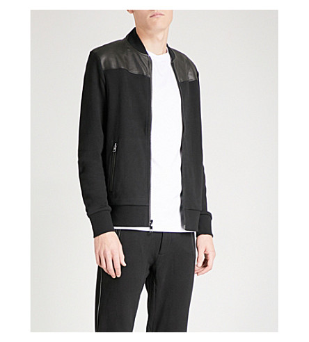 MICHAEL KORS Stand-collar cotton-jersey and leather bomber jacket (Black