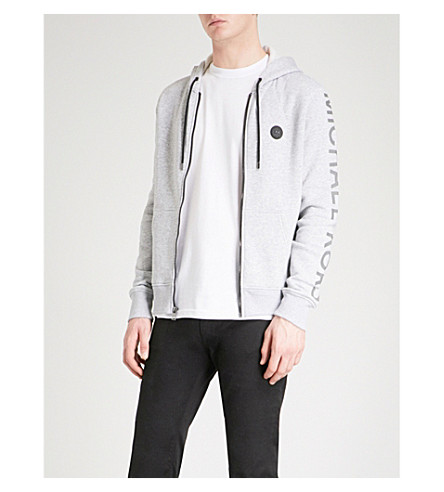 MICHAEL KORS Logo-embroidered cotton-jersey hoody (Ash+melange