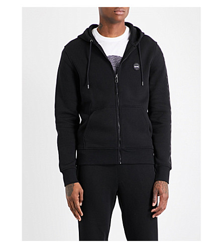 MICHAEL KORS Logo-embroidered cotton-jersey hoody (Black