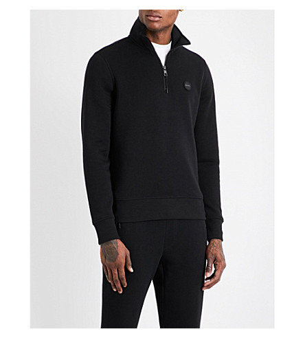 MICHAEL KORS Half-zip cotton-jersey sweatshirt (Black
