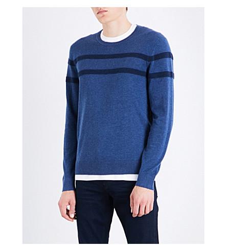 MICHAEL KORS Chest-stripe cotton-knitted jumper (Denim+blue