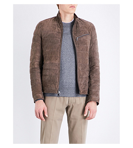 MICHAEL KORS Quilted suede puffer jacket (Fossil