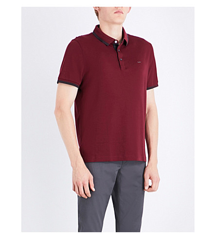 MICHAEL KORS Striped-trims cotton-jersey polo shirt (Chianti