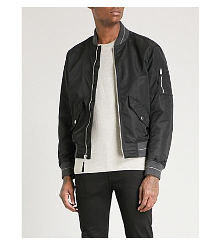 MICHAEL KORS Striped-trim shell bomber jacket (Black