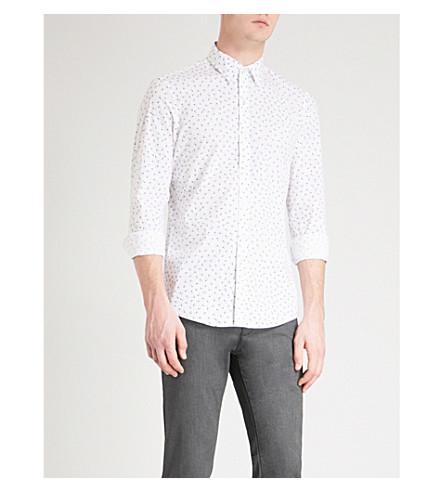 MICHAEL KORS Geometric pattern slim-fit stretch-cotton shirt (White