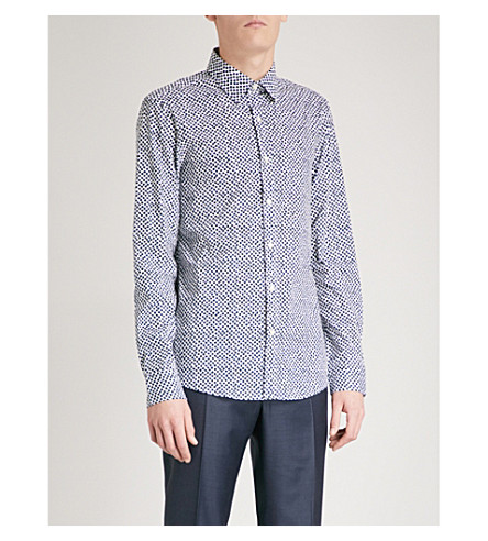 MICHAEL KORS Slim-fit scattered cube print stretch-cotton shirt (Petrol+teal