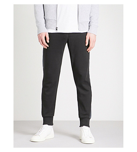 MICHAEL KORS Tape-trim tapered cotton-jersey jogging bottoms (Black