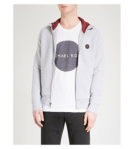 MICHAEL KORS Logo-embroidered cotton-blend hoody (Heather+grey