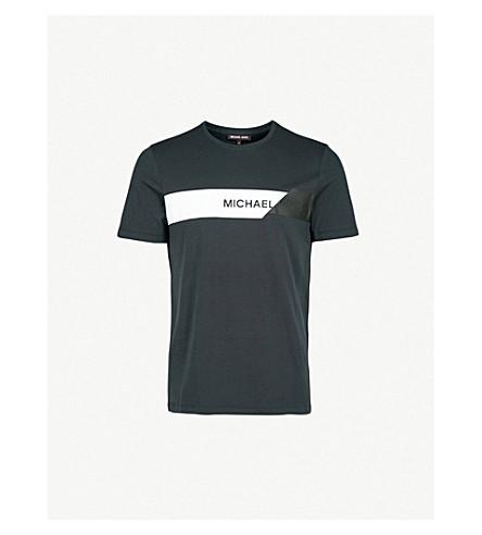 MICHAEL KORS Striped cotton-jersey t-shirt (Black