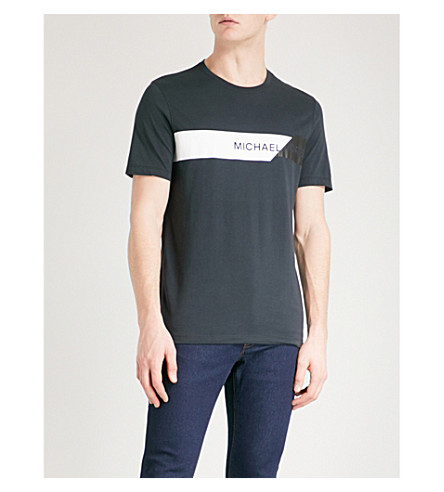 MICHAEL KORS Striped cotton-jersey t-shirt (Black