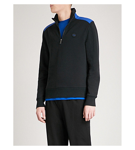 MICHAEL KORS Funnel-neck cotton-jersey sweatshirt (Black