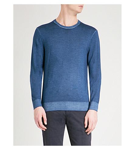 MICHAEL KORS Washed crewneck merino wool jumper (Blue
