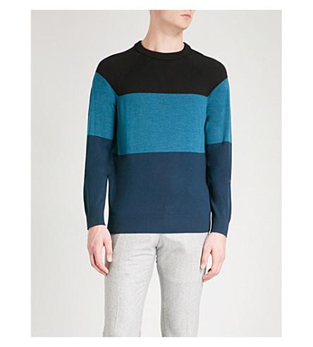 MICHAEL KORS 对比面板圆领羊毛毛衣 (黑色