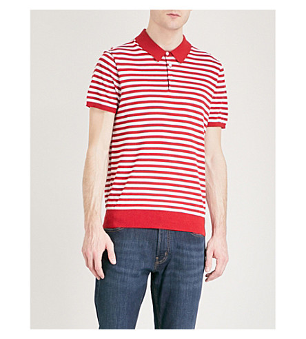 MICHAEL KORS Striped silk and cotton-blend polo shirt (Flame+red