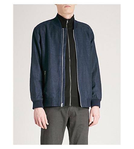 MICHAEL KORS Linen-blend bomber jacket (Midnight