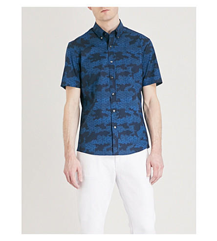 MICHAEL KORS Camouflage-print stretch-cotton shirt (Midnight