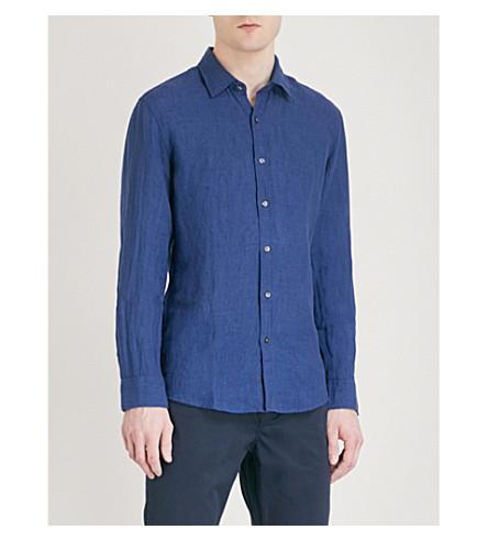 MICHAEL KORS Slim-fit linen shirt (Midnight