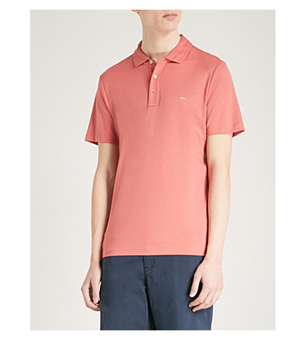 MICHAEL KORS Sleek cotton-jersey polo shirt (Faded+coral