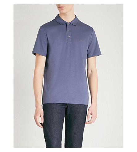 MICHAEL KORS Sleek cotton-jersey polo shirt (Smokey+blue