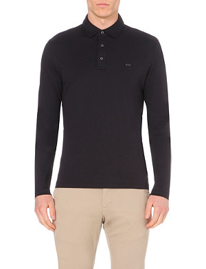 MICHAEL KORS Branded long-sleeved cotton polo shirt