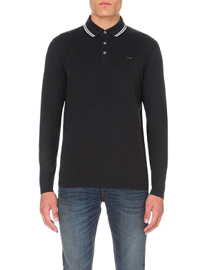 MICHAEL KORS Striped-trim cotton-jersey polo shirt