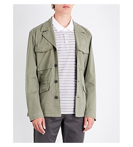 MICHAEL KORS notch-lapel stretch-cotton field jacket (Ivy+green
