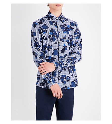 MICHAEL KORS Gingham and camouflage-patterned slim-fit cotton shirt (Denim