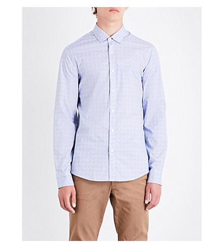 MICHAEL KORS Geometric-print slim-fit stretch-cotton shirt (Marine