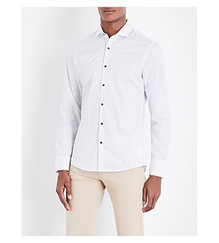 MICHAEL KORS Ditsy-print slim-fit stretch-cotton shirt (White
