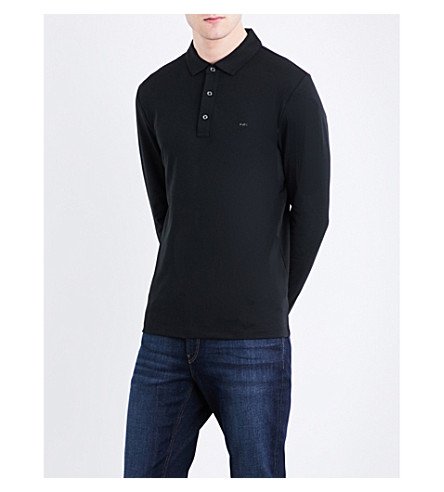 MICHAEL KORS Logo-embroidered long-sleeved cotton-jersey polo shirt (Black