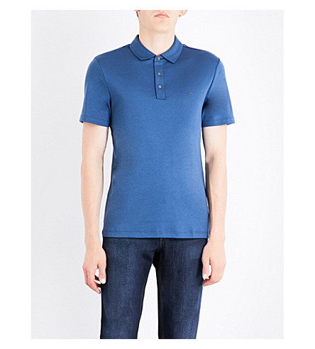 MICHAEL KORS Logo-embroidered cotton-jersey polo shirt (Denim