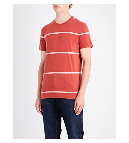 MICHAEL KORS Striped cotton-jersey T-shirt (Paprika