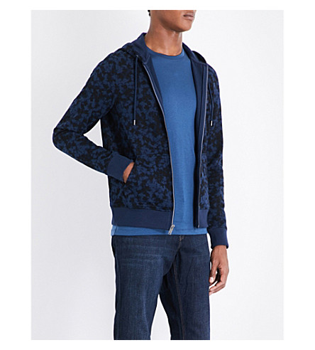 MICHAEL KORS Camouflage-print stretch-cotton hoody (Midnight