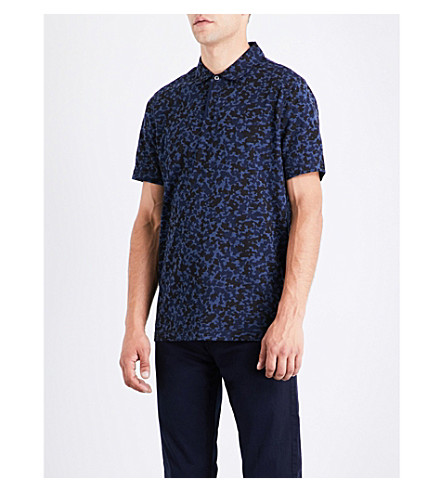 MICHAEL KORS Camouflage-patterned cotton-jersey polo shirt (Midnight