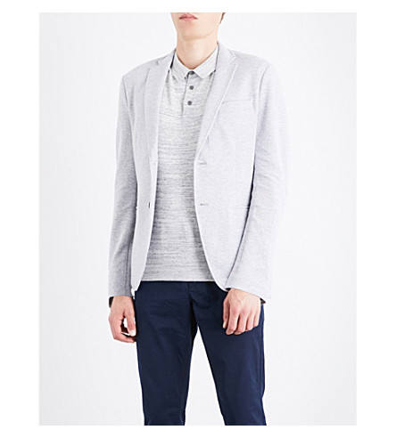 MICHAEL KORS Birdseye-knit cotton-blend blazer (Heather+grey