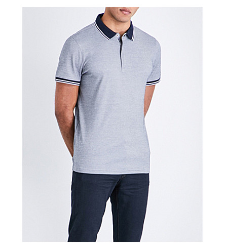 MICHAEL KORS Luxe performance zip-up polo shirt (Midnight