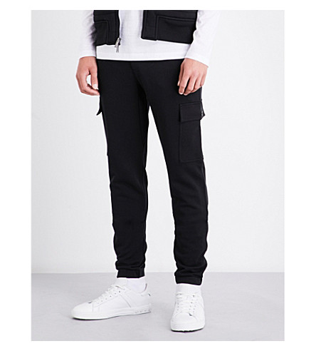 MICHAEL KORS Cargo flap-pocket cotton-jersey jogging bottoms (Black