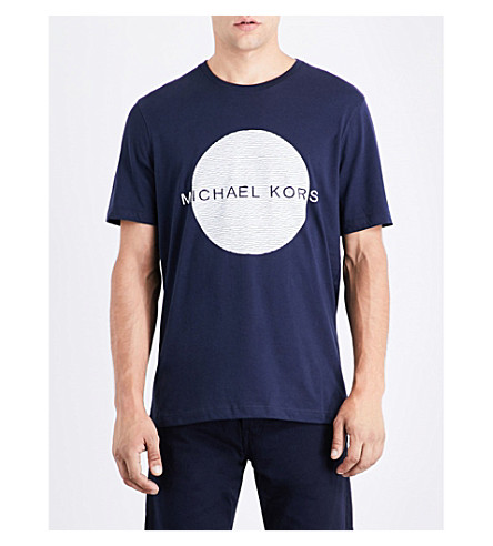 MICHAEL KORS Circle logo-print cotton-jersey T-shirt (Midnight